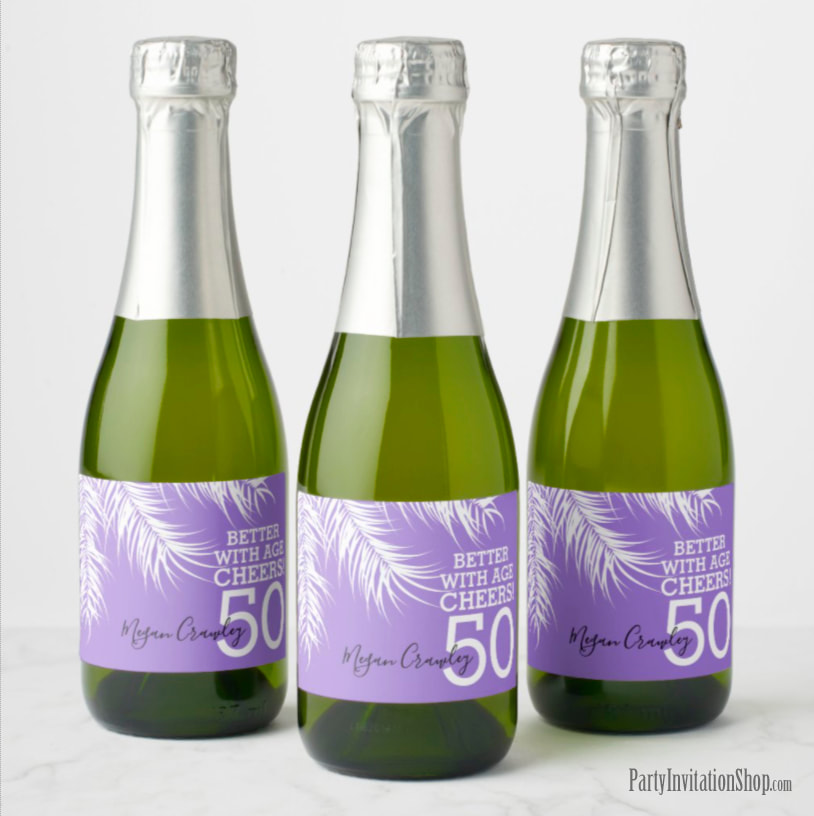 Better with Age Mini Champagne Labels - White Palm Fronds on Purple