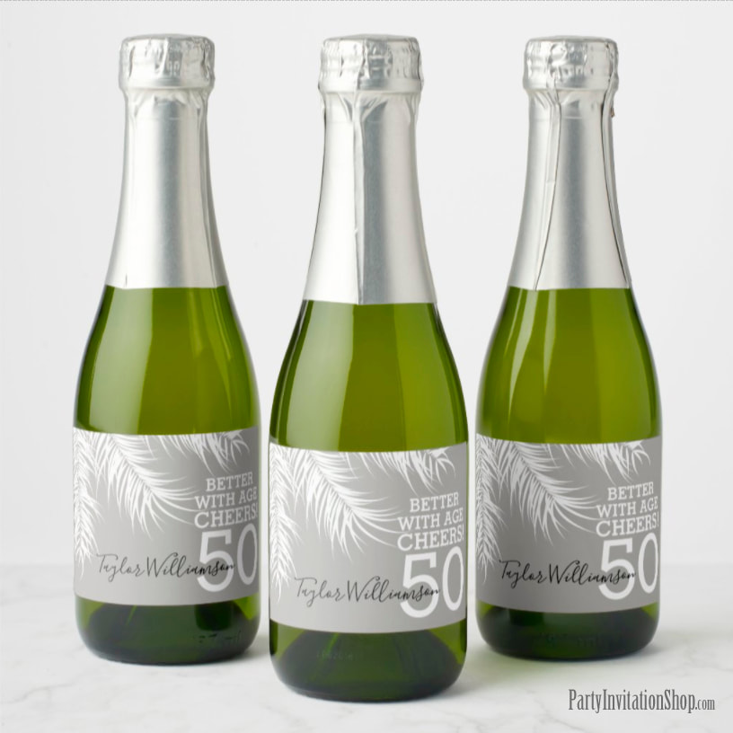 Better with Age Mini Champagne Labels - White Palm Fronds on Silver