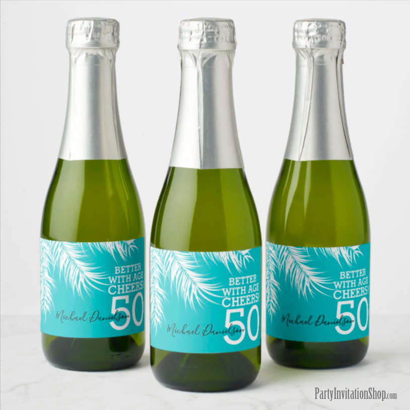 Better with Age Mini Champagne Labels - White Palm Fronds on Turquoise