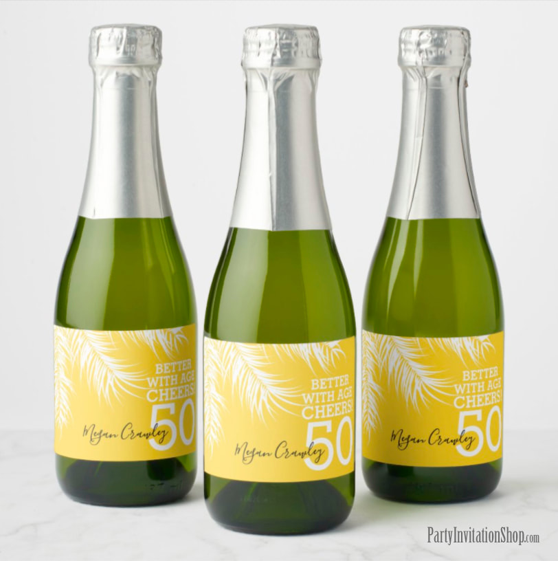 Better with Age Mini Champagne Labels - White Palm Fronds on Yellow