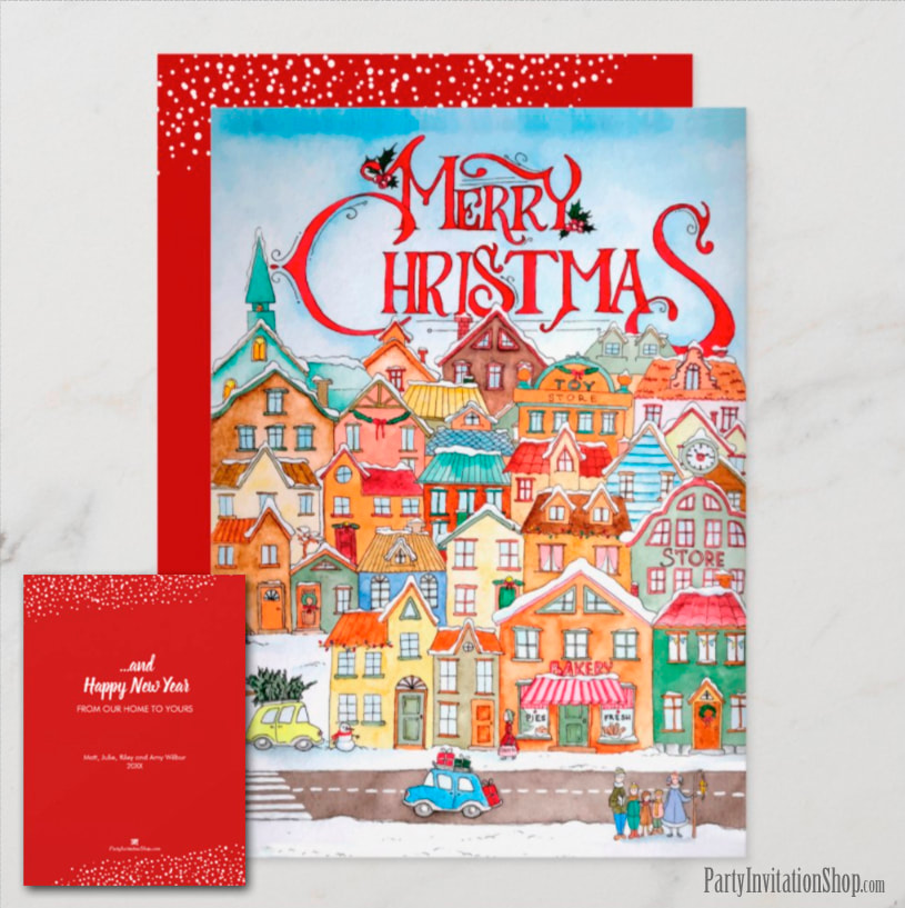 Vintage Village Christmas Holiday Greeting Cards