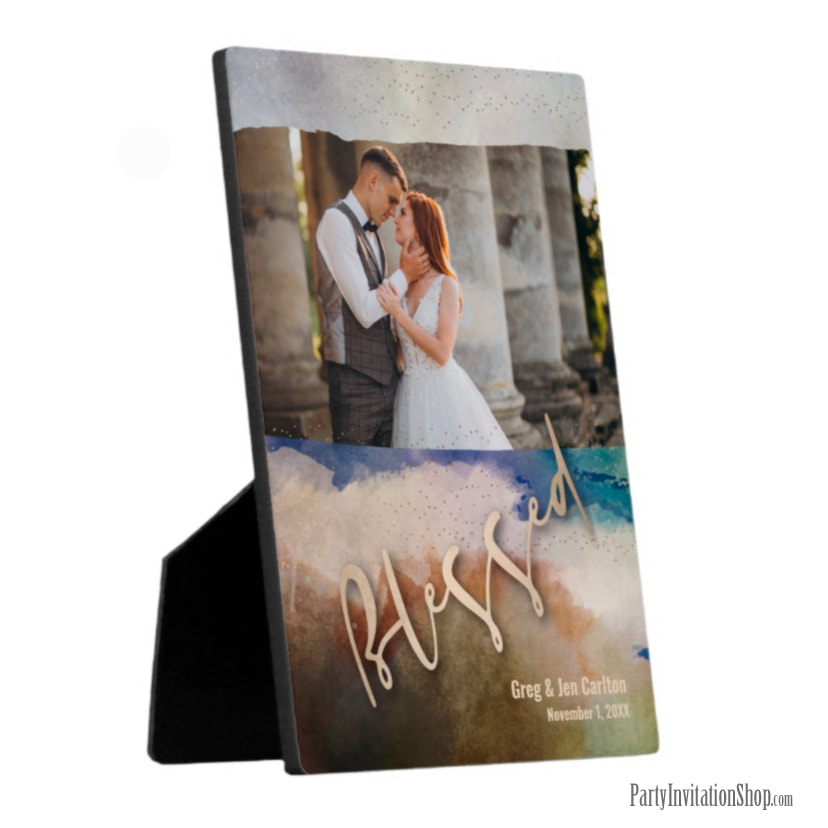 Wedding BLESSED Watercolor Tabletop Easel Plaque