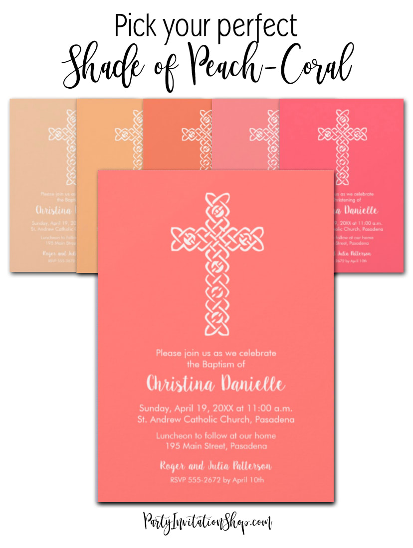 A white open weave cross on your choice of solid color backgrounds in lots of shades of some of the most popular colors, blue, pink, coral, peach, green, purple, silver, gold and more. Ideal invitations to coordinate colors for your child's Christening, Baptism or First Communion. PartyInvitationShop.com