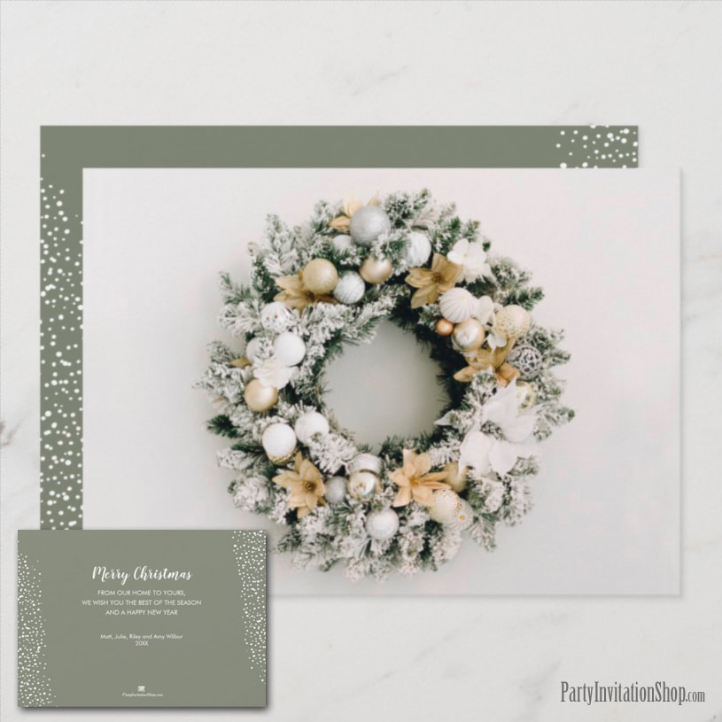 White and Gold Wreath Christmas Holiday Greeting Cards