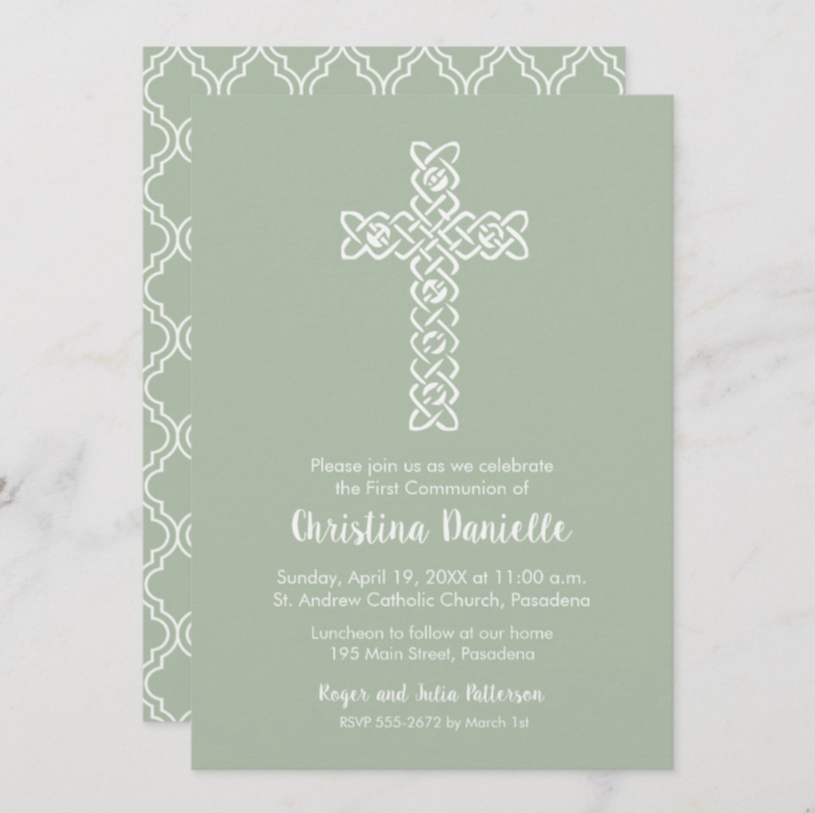 A white open weave cross on solid color backgrounds in lots of shades of some of the most popular colors, blue, pink, coral, peach, green, purple, silver, gold and more. Ideal invitations to coordinate colors for your child's Christening, Baptism or First Communion. PartyInvitationShop.com