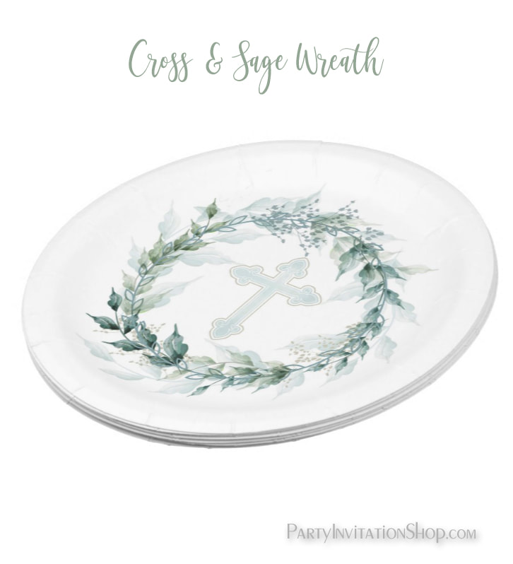 Wreath & Blue Cross First Communion, Baptism, Christening Paper Plates at PartyInvitationShop.com