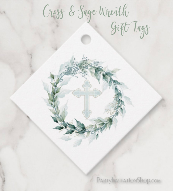 Wreath & Blue Cross First Communion, Baptism, Christening Gift Tags at PartyInvitationShop.com