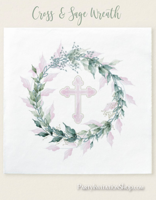 Wreath & Pink Cross First Communion, Baptism, Christening Paper Napkins at PartyInvitationShop.com