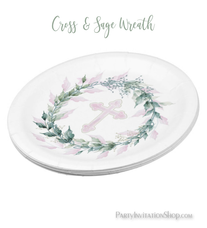 Wreath & Pink Cross First Communion, Baptism, Christening Paper Plates at PartyInvitationShop.com