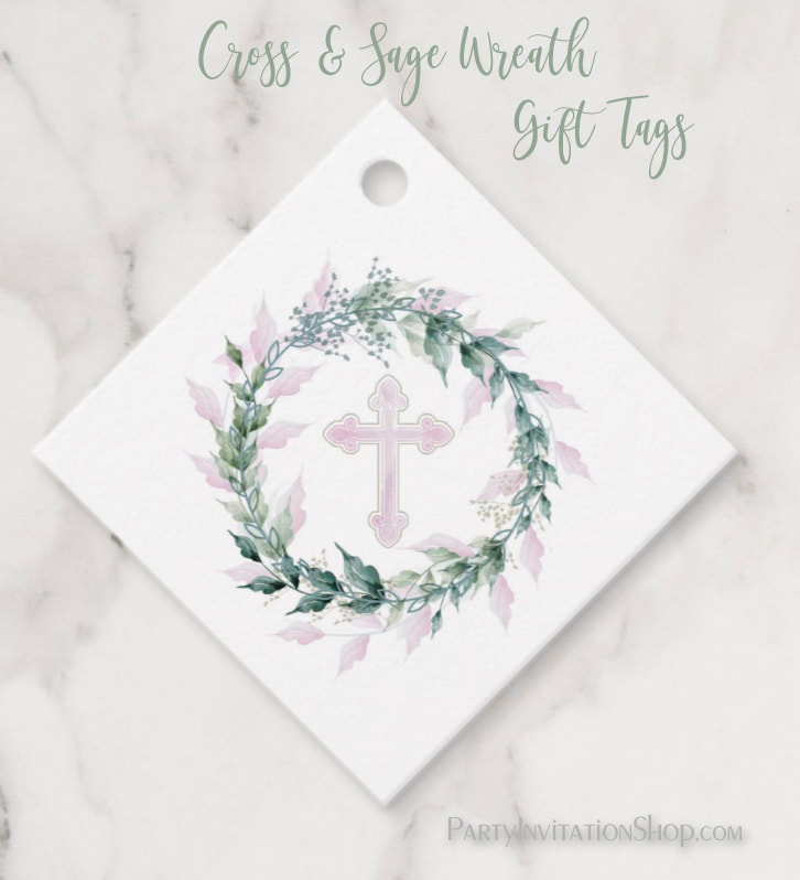 Wreath & Pink Cross First Communion, Baptism, Christening Gift Tags at PartyInvitationShop.com