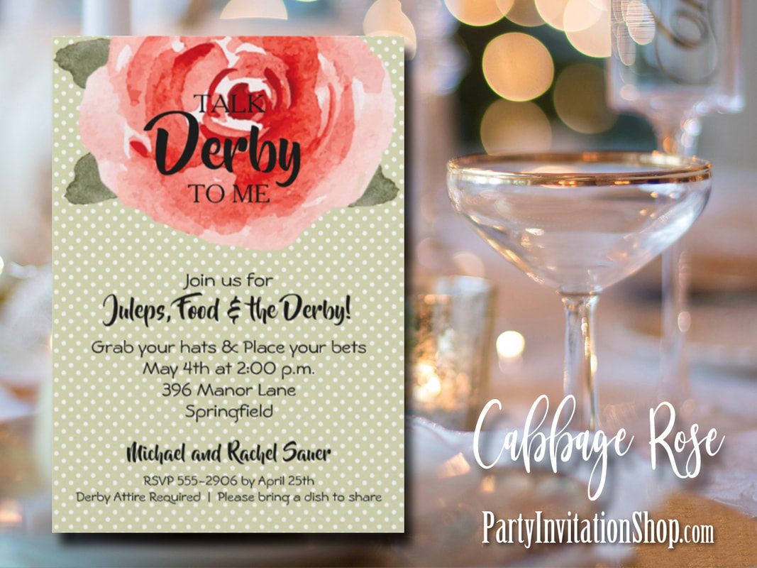 A large red rose is perfect for Kentucky Derby Invitations. We show white polka dots on a lime green background, but you can change the background color to ANYTHING! Invitations, favors, attire and decor for your Derby party. PartyInvitationShop.com