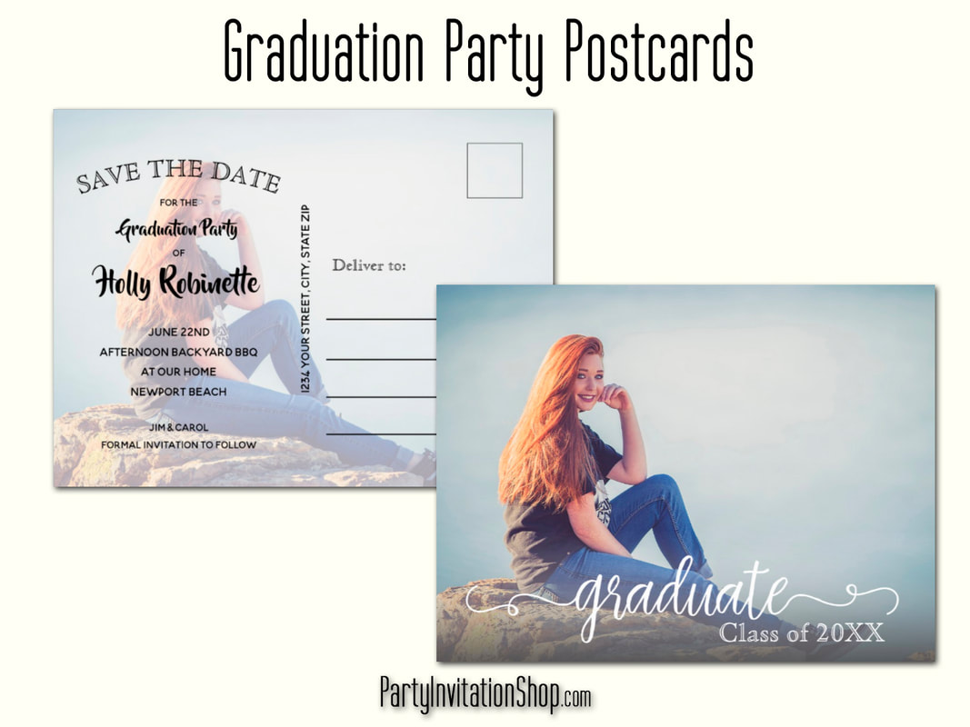 Your graduate's photo makes a perfect graduation save the date card, party invitation or graduation announcements. We've created postcards and invitations with envelopes, the choice is yours. Upload your photo on the front and the back, if you choose, personalize with your details and you're done! PartyInvitationShop.com