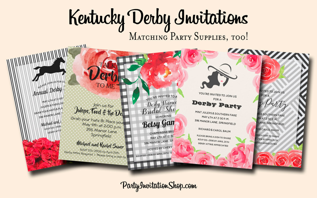 Kentucky Derby day is a fabulous way to get friends together to enjoy the race, the weather, the food and friendship. You'll find fabulous invitations as well as matching paper plates, napkins, hand fans, party favor boxes, Derby attire and more. Kentucky Derby day is a fabulous way to get friends together to enjoy the race, the weather, the food and friendship. You'll find fabulous invitations as well as matching paper plates, napkins, hand fans, party favor boxes, Derby attire and more. PartyInvitationShop.com