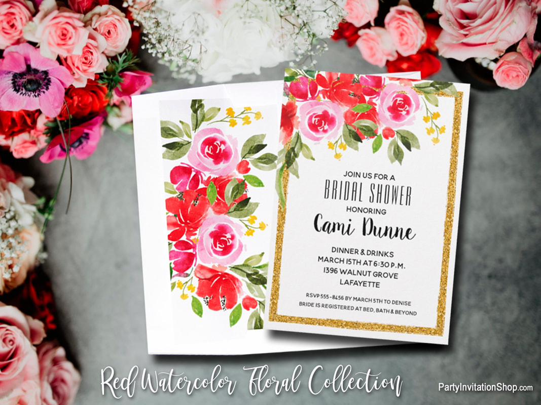 A watercolor floral design of pink and red flowers and green leaves, on birthday party invitations, anniversary party invitations, bridal shower invitations, garden party invitations PLUS napkins, plates, party favors and more. Browse PartyInvitationShop.com