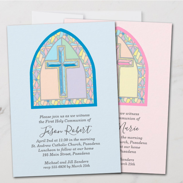 Cross in pink or blue in a stained glass window, perfect for your child's first communion, baptism, christening, dedication. Party favors, signs, napkins, plates and more already designed for you to personalize with your details. Use for ANY OCCASION, just change the wording to fit your event. Browse it all at PartyInvitationShop.com