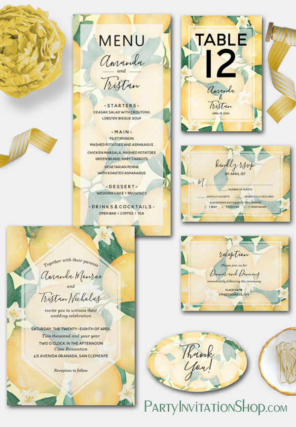 Rustic Tuscan Boho Lemons and Greenery Collection at PartyInvitationShop.com